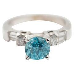 14 Karat White Gold, 0.43 Carat Diamond and 1.83 Carat Blue Zircon Ring