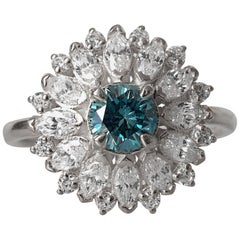 14 Karat White Gold, 0.5 Carat Natural Blue Diamond Engagement Ring