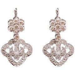14 Karat White Gold 0.50 Carat Diamond Pave Floral Drop Clip-On Dangle Earrings
