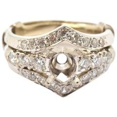 14 Karat White Gold 0.54 Carat Round Diamond Wedding Set of Semi-Mounting
