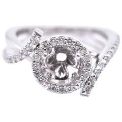 14 Karat White Gold 0.64 Carat Diamond Semi-Mount Engagement Ring
