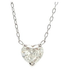14 Karat White Gold 0.70 Carat Heart Cut Diamond Pendant Necklace