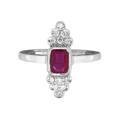 14 Karat White Gold 0.72 Carat Ruby and Diamond Ring