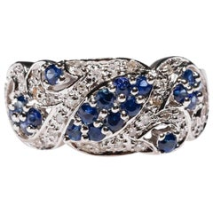 14 Karat White Gold 0.73 Carat Blue Sapphire Round Diamond Wedding Band Ring