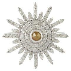 14 Karat White Gold 0.90 Carat Diamond Pave Cocktail Ring Flower Design Jewelry