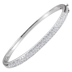 14 Karat White Gold 1 1/2 Carat Diamond Bangle Bracelet