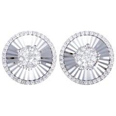 14 Karat White Gold, 1 Carat Diamond Round Stud Earrings