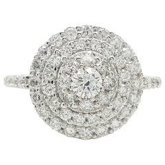 14 Karat White Gold 1 Carat Round Cut Diamond Triple Halo Engagement Ring