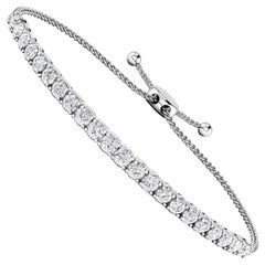 14 Karat White Gold 1.00 Carat Diamond Bolo Tennis Bracelet