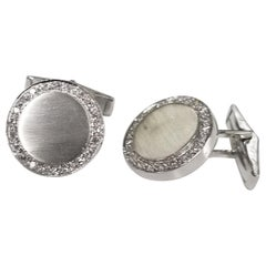 14 Karat White Gold 1.00 Carat Diamond Cufflinks with Brushed Finish