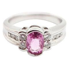 14 Karat White Gold, 1.00 Carat Pink Sapphire and 0.50 Carat Diamond Ring