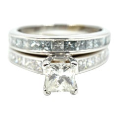 14 Karat White Gold 1.00 Carat Princess Cut Diamond Engagement Ring