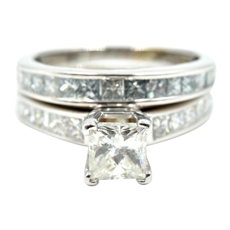 14 Karat White Gold 1.00 Carat Princess Cut Diamond Engagement Ring For Sale