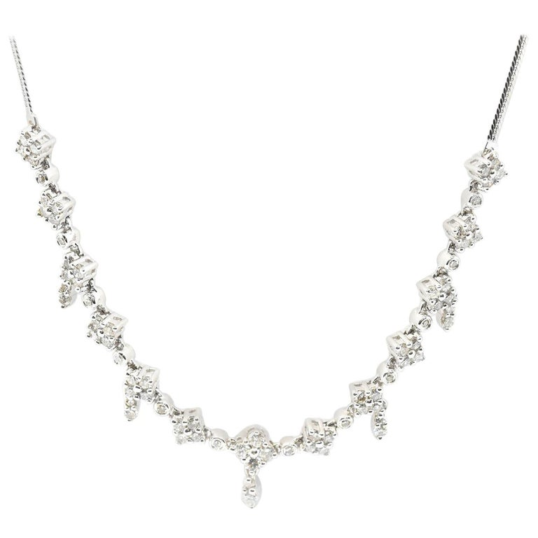 f1af5bf208aa3b 14 Karat White Gold 1.00 Carat Round Diamond Necklace with Dangling Diamonds  For Sale