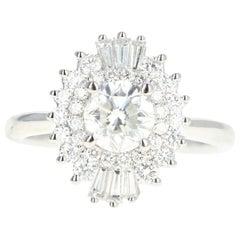 14 Karat White Gold 1.01 Round Brilliant Cut Diamond Engagement Ring