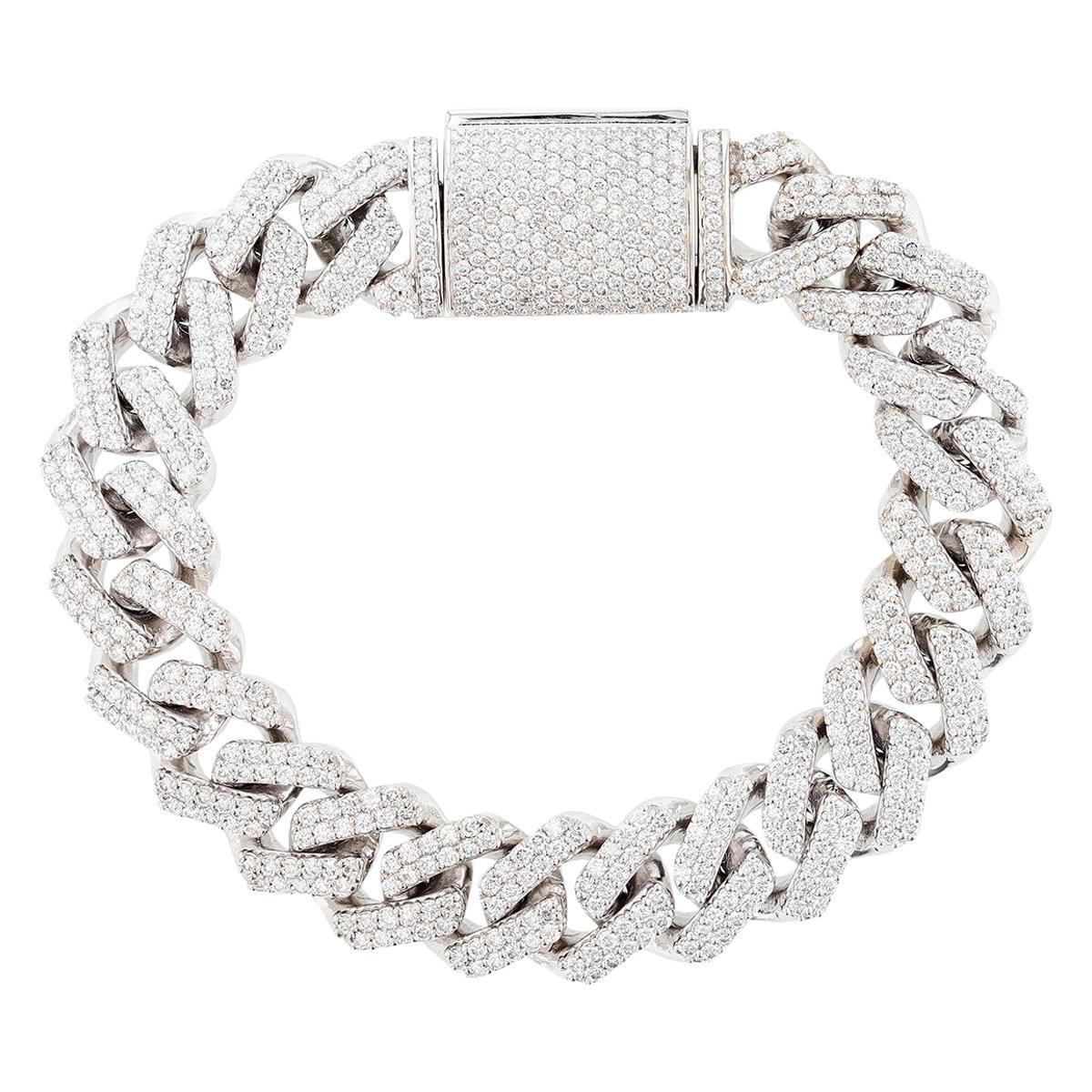 14 Karat White Gold 10.71 Carat Diamond Cuban Chain Link Bracelet
