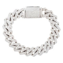 14 Karat White Gold 10.71 Carat Diamond Cuban Chain Link Bracelet