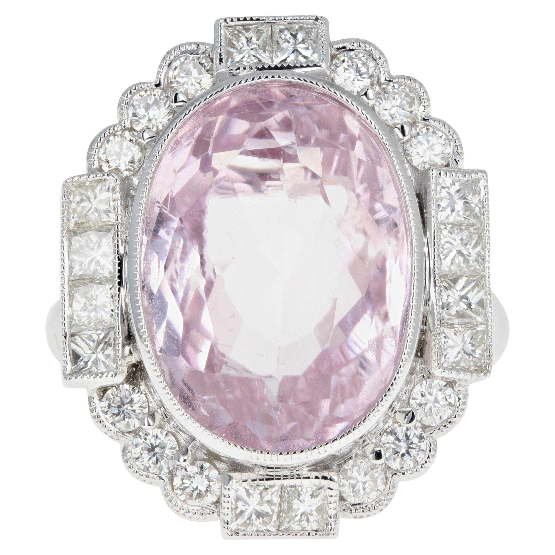 14 Karat White Gold 10.86 Carat Kunzite and Diamond Halo Ring