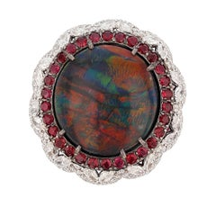 GIA Certified 11.11 Carat Australian Black Opal Ruby and Diamond Ring