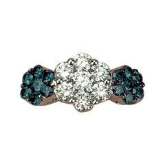 14 Karat White Gold 1.12 Carat White and Blue Diamond Floral Cluster Ring