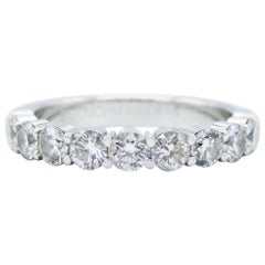 14 Karat White Gold 1.15 Carat Round Diamond Wedding Band Ring