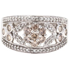 14 Karat White Gold, 1.27 Carat Brown abd White Diamond Wide Flower Band Ring