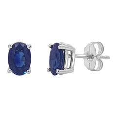 14 Karat White Gold 1.30 Carat Sapphire Oval Shape Stud Earring