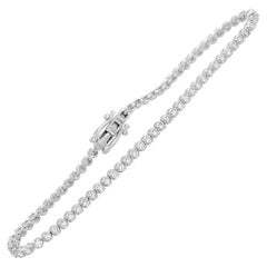 14 Karat White Gold, 1.49 Carat Diamond Tennis Bracelet