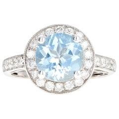 14 Karat White Gold 1.5 Carat Round Aquamarine and Diamond Ring
