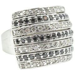 14 Karat White Gold, 1.50 Carat Black and White Round Diamond Cocktail Ring