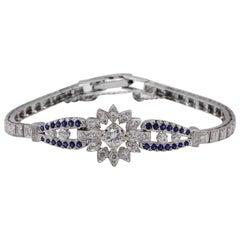 14 Karat White Gold 1.50 Carat Diamond and Blue Sapphire Bracelet