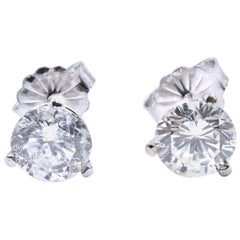 14 Karat White Gold 1.52 Carat Diamond Stud Earrings