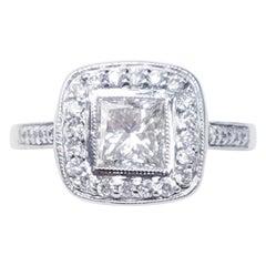 14 Karat White Gold 1.52 Carat Princess Cut Diamond Ring