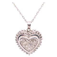 14 Karat White Gold Heart Pendant Necklace with Round Diamonds