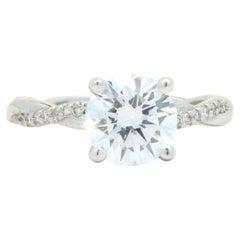 14 Karat White Gold 1.67ct Round Brilliant Diamond Engagement Ring