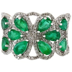 14 Karat White Gold 1.75 Carat Emerald and Diamond Band Ring