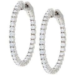 14 Karat White Gold 1.76 Carat Diamond Inside / Outside Hoop Earrings
