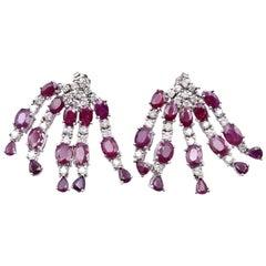 14 Karat White Gold 1.80 Carat Diamond and 12.50 Carat Ruby Dangle Earrings