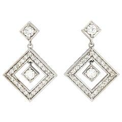 14 Karat White Gold 1.80 Carat Diamond Dangle/Drop Earrings SI2/H
