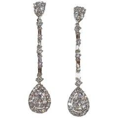 14 Karat White Gold 1.95 Carat Round and Baguette Diamond Drop Earrings