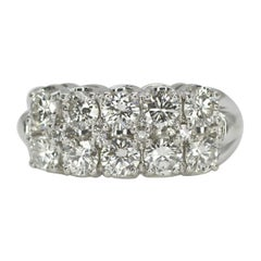 14 Karat White Gold 2-Row Diamond Wedding Ring