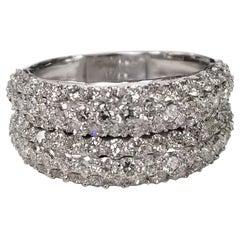 14 Karat White Gold 2-Row Rolling Diamond Pave Ring 5.36 Carat
