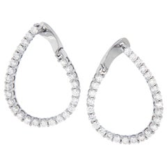 18 Karat White Gold 2.33 Carat Diamond East, West Inside Outside Hoop Earrings