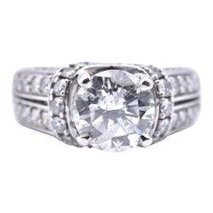14 Karat White Gold 2.10 Carat Diamond Engagement Ring