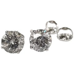 14 Karat White Gold 2.42 Carat Diamonds Stud Earrings