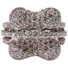 14 Karat White Gold 2.47 Carat Round Cut Pavé White Diamond Dome Fashion Ring