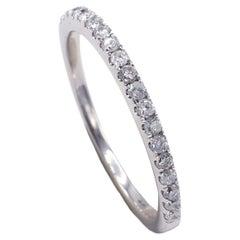 14 Karat White Gold .25 Carat Half Diamond Thin Wedding Band Stackable Ring