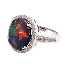14 Karat White Gold 2.60 Carat Australian Black Opal Diamond Cluster Ring