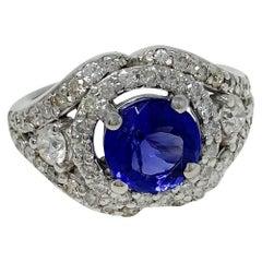 14 Karat White Gold 2.63 Carat Tanzanite 0.70 Carat Diamond Ring