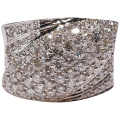 14 Karat White Gold 2.69 Carat Round Cut Pavé Diamond Wrap Band Ring in Stock